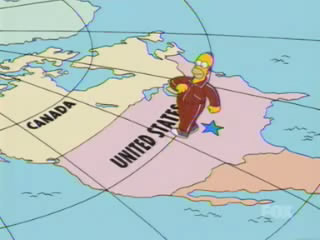 Homer Takes A Song Sequence Walk From Springfield To Alaska In The Brief Shot Of America Springfield Is Represented By A Solitary Blue Star Which